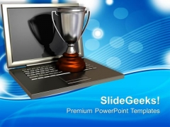 Trophy On Top Of An Open Laptop PowerPoint Templates Ppt Backgrounds For Slides 0113