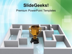 Trophy Symbol Of Award Solution Maze Business PowerPoint Templates And PowerPoint Themes 1112