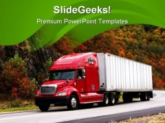 Trucking In Autumn Travel PowerPoint Templates And PowerPoint Backgrounds 0511