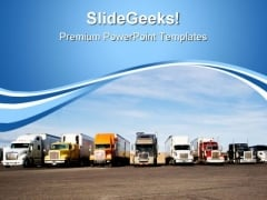 Trucks In Row Travel PowerPoint Templates And PowerPoint Backgrounds 0711