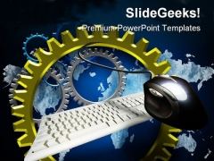 Turning Gears Computer Global PowerPoint Themes And PowerPoint Slides 0211