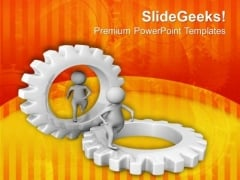 Two Different Gears For Two People PowerPoint Templates Ppt Backgrounds For Slides 0713