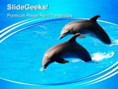 Two Dolphin Jumping Animals PowerPoint Themes And PowerPoint Slides 0411