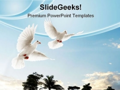 Two Doves Flying Animals PowerPoint Themes And PowerPoint Slides 0711