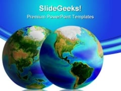 Two Earth Globes Global PowerPoint Template 1110