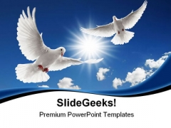 Two Flying Doves Animals PowerPoint Themes And PowerPoint Slides 0811