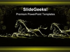 Two Golden Horses Running Animals PowerPoint Themes And PowerPoint Slides 0711