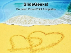 Two Hearts On Beach PowerPoint Themes And PowerPoint Slides 0711