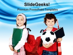 Two Little Students Education PowerPoint Backgrounds And Templates 1210