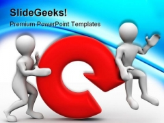 Two Men With Refresh Symbol PowerPoint Themes And PowerPoint Slides 0211