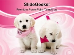 Two Puppies Animals PowerPoint Templates And PowerPoint Backgrounds 0411