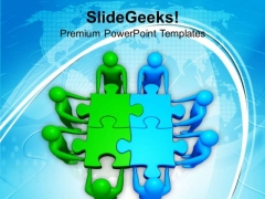 Two Teams Efforts Green Blue Puzzles Business PowerPoint Templates Ppt Backgrounds For Slides 0113