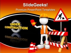 Under Construction Sign Symbol PowerPoint Themes And PowerPoint Slides 0611