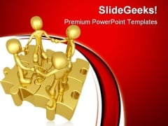 Unity Puzzle People PowerPoint Themes And PowerPoint Slides 0811