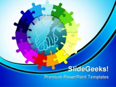 Unity Puzzle Shapes Services PowerPoint Themes And PowerPoint Slides 0311