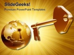 Unlock World Business PowerPoint Template 0910