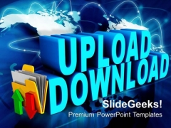 Upload Download Folder Icon Internet PowerPoint Templates And PowerPoint Themes 0912