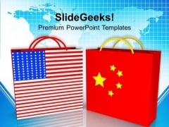 Us And China Trade Symbol PowerPoint Templates Ppt Backgrounds For Slides 0213