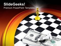 Us Dollars And Chess Board Setup Game PowerPoint Templates And PowerPoint Themes 0912