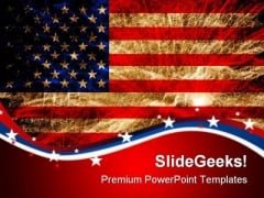 Us Flag Fireworkers Americana PowerPoint Templates And PowerPoint Backgrounds 0811