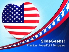 Us Flag In Heart Shape Americana PowerPoint Templates And PowerPoint Themes 0812