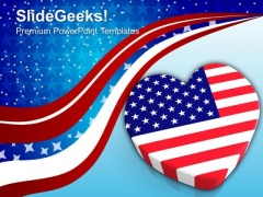 Us Flag In Heart Shape Americana PowerPoint Templates And PowerPoint Themes 0912