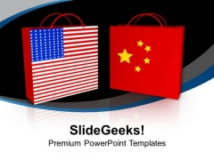 Usa And China Shopping Bags PowerPoint Templates Ppt Backgrounds For Slides 0313