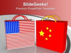 Usa China Symbol By Two Red Shopping Bags PowerPoint Templates Ppt Backgrounds For Slides 1212