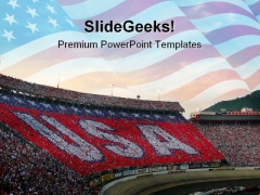 Usa Crowd People Americana PowerPoint Template 1110