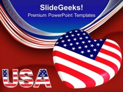 Usa Flag With Heart Americana PowerPoint Templates And PowerPoint Themes 0712