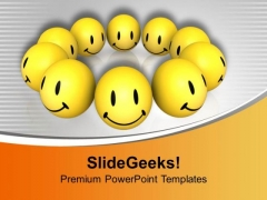 Use Smiley Faces For Happy Theme PowerPoint Templates Ppt Backgrounds For Slides 0413