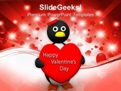 Valentine Heart Holding Penguin Wings Heart PowerPoint Templates Ppt Backgrounds For Slides 0213