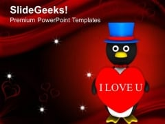 Valentine Penguin Celebration PowerPoint Templates Ppt Backgrounds For Slides 0213