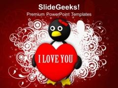 Valentine Penguin Shape Love PowerPoint Templates Ppt Backgrounds For Slides 0213