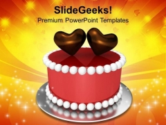 Valentines Cake With Hearts Love PowerPoint Templates Ppt Backgrounds For Slides 0213