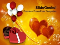 Valentines Gift Chocolates With Balloons PowerPoint Templates Ppt Backgrounds For Slides 0213