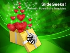 Valentines Gift With Lots Of Love Hearts PowerPoint Templates Ppt Backgrounds For Slides 0213