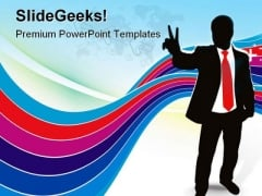 Victory Sign Success PowerPoint Themes And PowerPoint Slides 0811