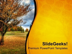 View Of Nature With Golden Background PowerPoint Templates Ppt Backgrounds For Slides 0713