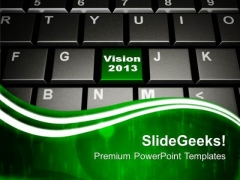 Vision 2013 On Keyboard Button Computer PowerPoint Templates Ppt Backgrounds For Slides 0213