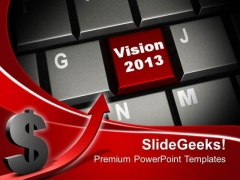 Vision On Red Keyboard Button Computer PowerPoint Templates And PowerPoint Themes 1112