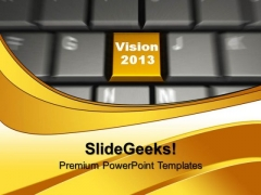 Vision On Yellow Keyboard Button PowerPoint Templates And PowerPoint Themes 1012