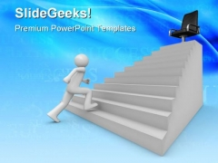 Walking On Career Ladder Business PowerPoint Themes And PowerPoint Slides 0711