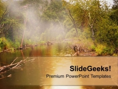 Water And Forest In Background PowerPoint Templates Ppt Backgrounds For Slides 0613