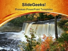 Water Falls Nature PowerPoint Themes And PowerPoint Slides 0411