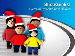 Wear Santa Cap And Enjoy Christmas PowerPoint Templates Ppt Backgrounds For Slides 0713