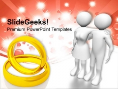 Wedding Rings For Married Couple PowerPoint Templates Ppt Backgrounds For Slides 0313