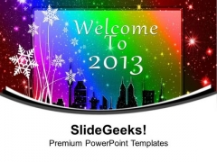 Welcome The New Year Celebration PowerPoint Templates Ppt Backgrounds For Slides 0613