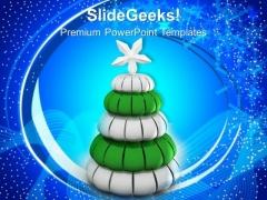 White And Green Pine Tree Christmas Celebration PowerPoint Templates Ppt Backgrounds For Slides 1212