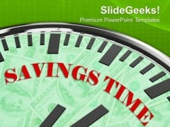White Clock With Savings Time Business PowerPoint Templates Ppt Backgrounds For Slides 0213